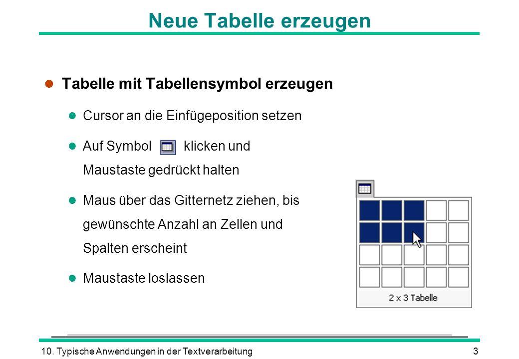 10. Typische Anwendungen in der Textverarbeitung3 l Tabelle mit Tabellensymbol erzeugen l Cursor an die Einfügeposition setzen l Auf Symbol klicken un