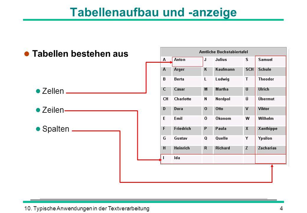 10. Typische Anwendungen in der Textverarbeitung4 l Tabellen bestehen aus Zellen l Zeilen l Spalten Tabellenaufbau und -anzeige