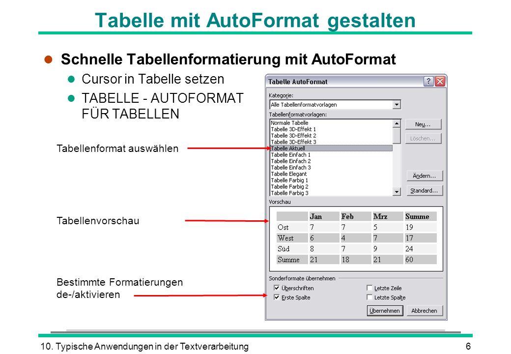 10. Typische Anwendungen in der Textverarbeitung6 Tabelle mit AutoFormat gestalten l Schnelle Tabellenformatierung mit AutoFormat l Cursor in Tabelle