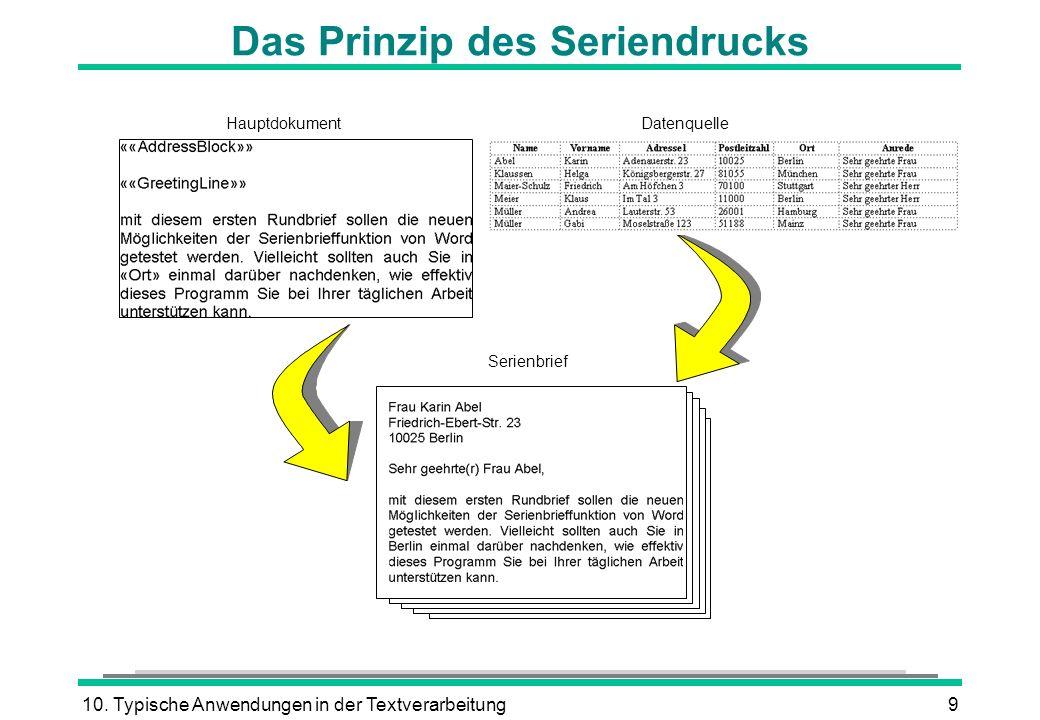 10. Typische Anwendungen in der Textverarbeitung9 Das Prinzip des Seriendrucks HauptdokumentDatenquelle Serienbrief
