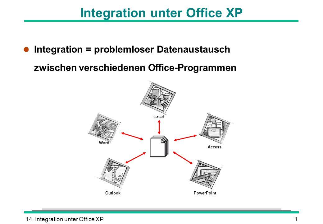 14. Integration unter Office XP1 Integration unter Office XP l Integration = problemloser Datenaustausch zwischen verschiedenen Office-Programmen Exce