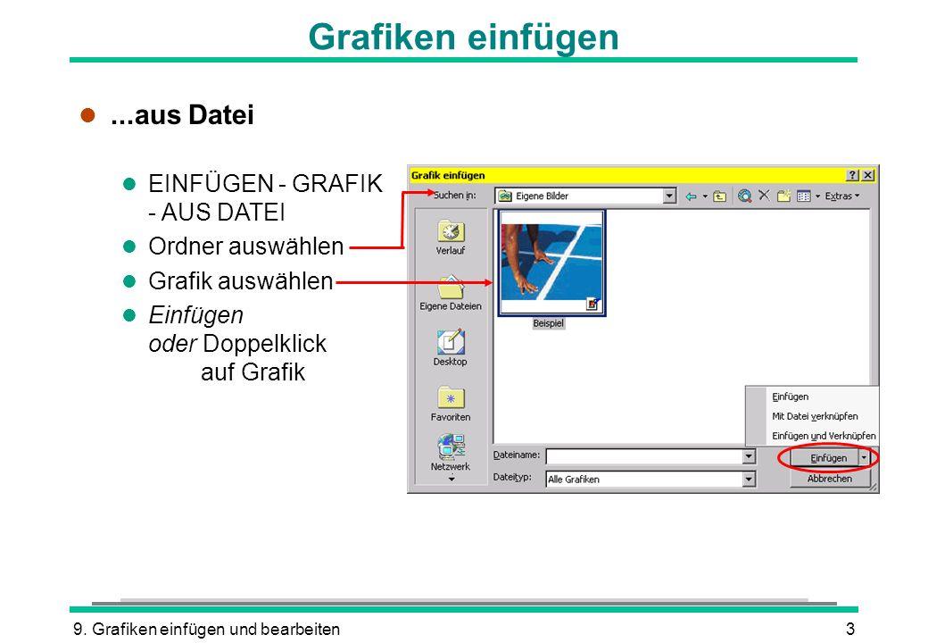 9. Grafiken einfügen und bearbeiten3 Grafiken einfügen l...aus Datei l EINFÜGEN - GRAFIK - AUS DATEI l Ordner auswählen l Grafik auswählen l Einfügen