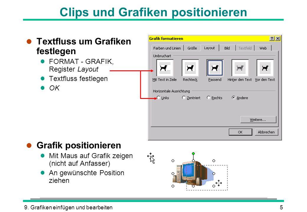 9. Grafiken einfügen und bearbeiten5 l Textfluss um Grafiken festlegen l FORMAT - GRAFIK, Register Layout l Textfluss festlegen l OK l Grafik position