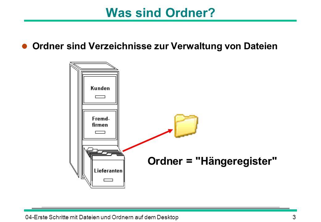04-Erste Schritte mit Dateien und Ordnern auf dem Desktop3 Was sind Ordner? l Ordner sind Verzeichnisse zur Verwaltung von Dateien Ordner =