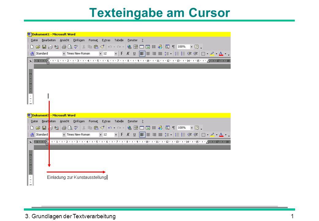 3. Grundlagen der Textverarbeitung1 Texteingabe am Cursor