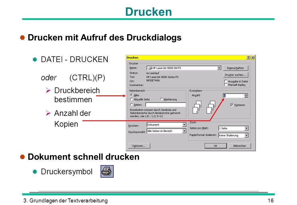 3. Grundlagen der Textverarbeitung16 Drucken l Drucken mit Aufruf des Druckdialogs l DATEI - DRUCKEN oder (CTRL)(P) Druckbereich bestimmen Anzahl der