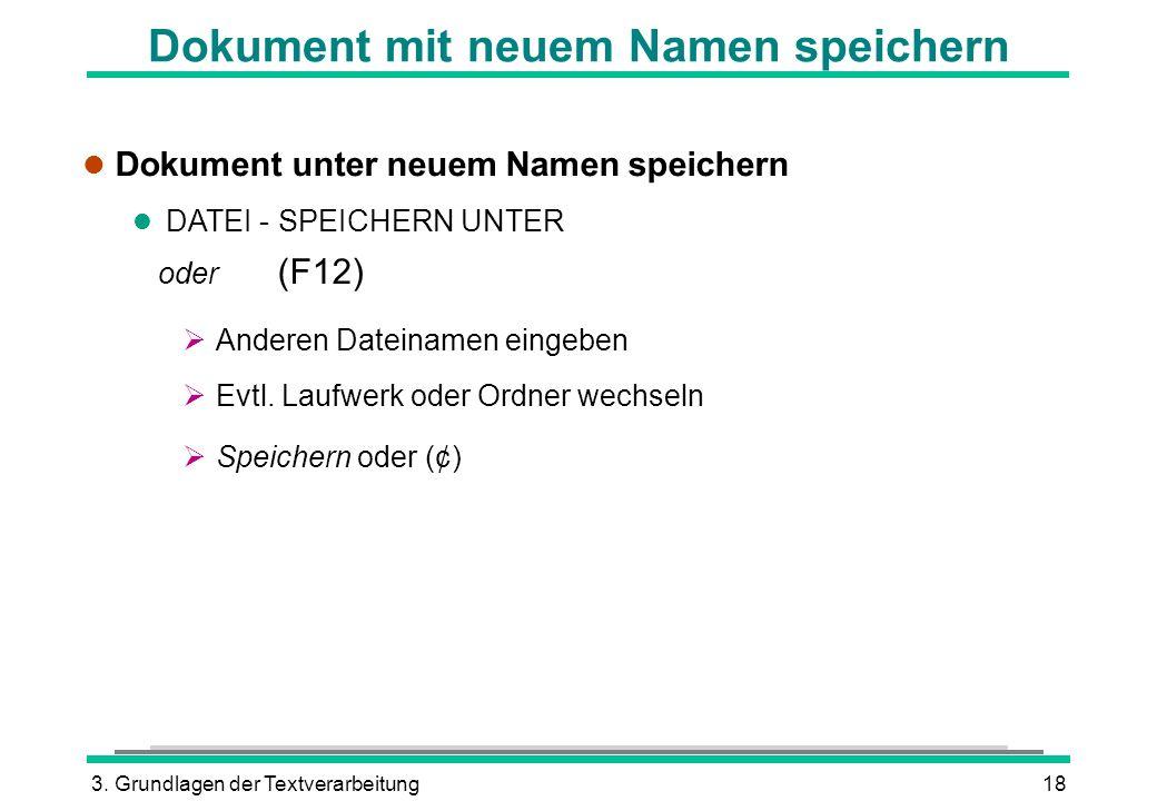 3. Grundlagen der Textverarbeitung18 Dokument mit neuem Namen speichern l Dokument unter neuem Namen speichern l DATEI - SPEICHERN UNTER oder (F12) An