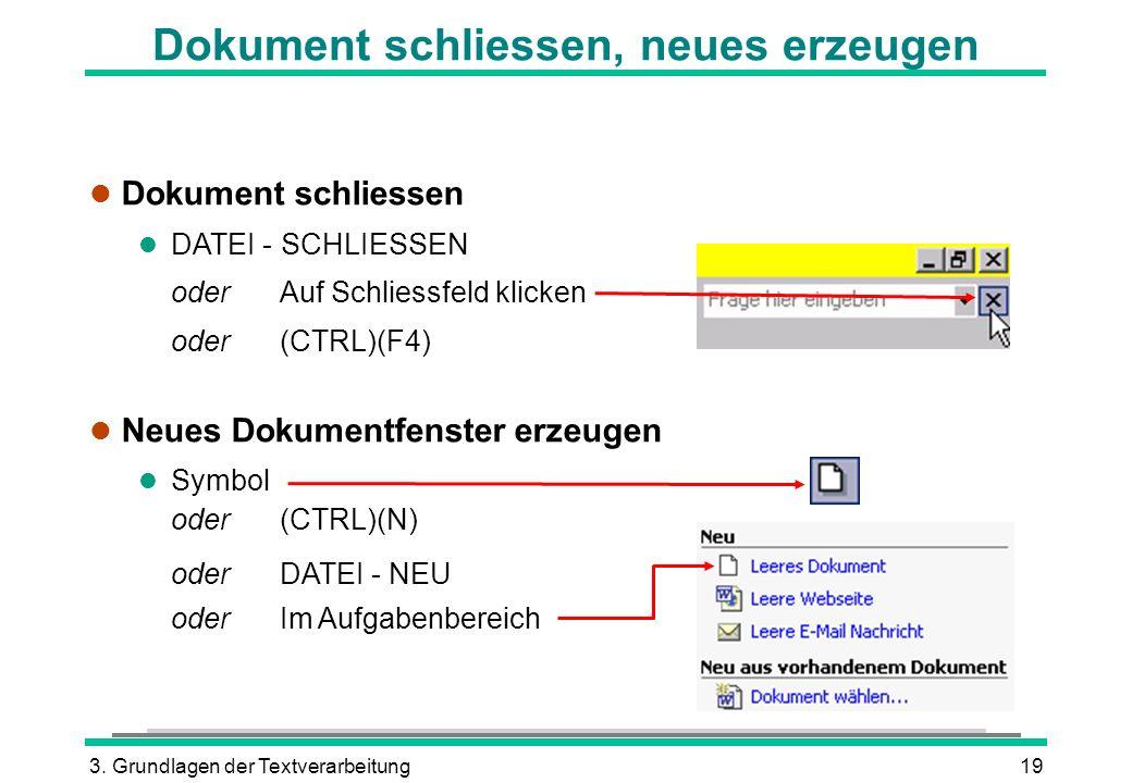 3. Grundlagen der Textverarbeitung19 Dokument schliessen, neues erzeugen l Dokument schliessen l DATEI - SCHLIESSEN oder Auf Schliessfeld klicken oder