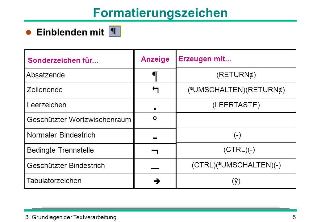 3. Grundlagen der Textverarbeitung5 Formatierungszeichen Absatzende Zeilenende Leerzeichen Geschützter Wortzwischenraum Normaler Bindestrich Bedingte