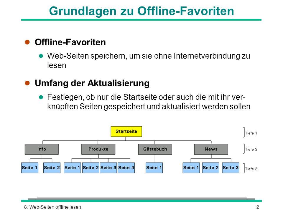 28. Web-Seiten offline lesen Grundlagen zu Offline-Favoriten l Offline-Favoriten l Web-Seiten speichern, um sie ohne Internetverbindung zu lesen l Umf