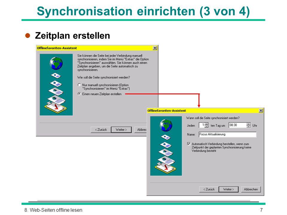 78. Web-Seiten offline lesen Synchronisation einrichten (3 von 4) l Zeitplan erstellen
