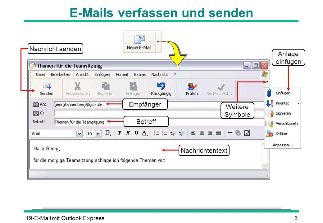 19-E-Mail mit Outlook Express6 E-Mails empfangen Nachrichtenliste Nachrichtentext Statusleiste