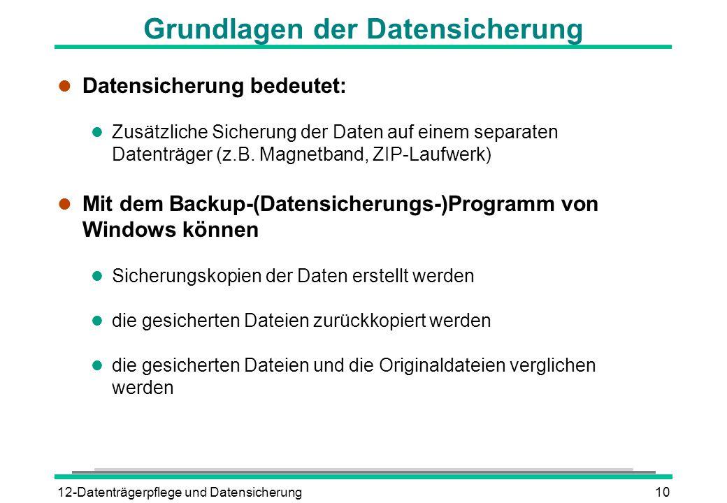 12-Datenträgerpflege und Datensicherung10 Grundlagen der Datensicherung l Datensicherung bedeutet: l Zusätzliche Sicherung der Daten auf einem separat