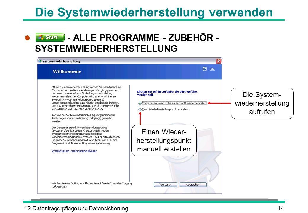 12-Datenträgerpflege und Datensicherung14 Die Systemwiederherstellung verwenden l - ALLE PROGRAMME - ZUBEHÖR - SYSTEMWIEDERHERSTELLUNG Einen Wieder- h