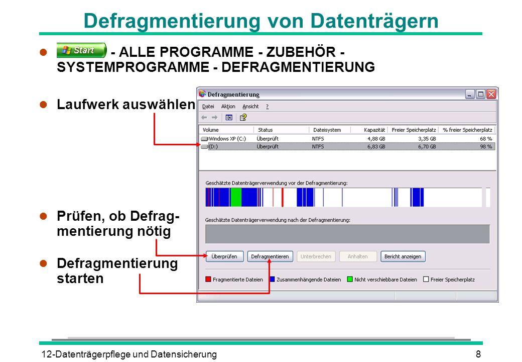 12-Datenträgerpflege und Datensicherung9 Den Taskplaner einsetzen l Automatische regelmäßige Ausführung von: l Fehlerprüfung l Defragmentierung l Datenträgerbereinigung l Taskplaner starten l - ALLE PROGRAMME - ZUBEHÖR - SYSTEMPROGRAMME - GEPLANTE TASKS l Doppelklick auf Eintrag Geplanten Task hinzufügen l Einstellungen im Assistenten vornehmen Computer muss eingeschaltet bleiben