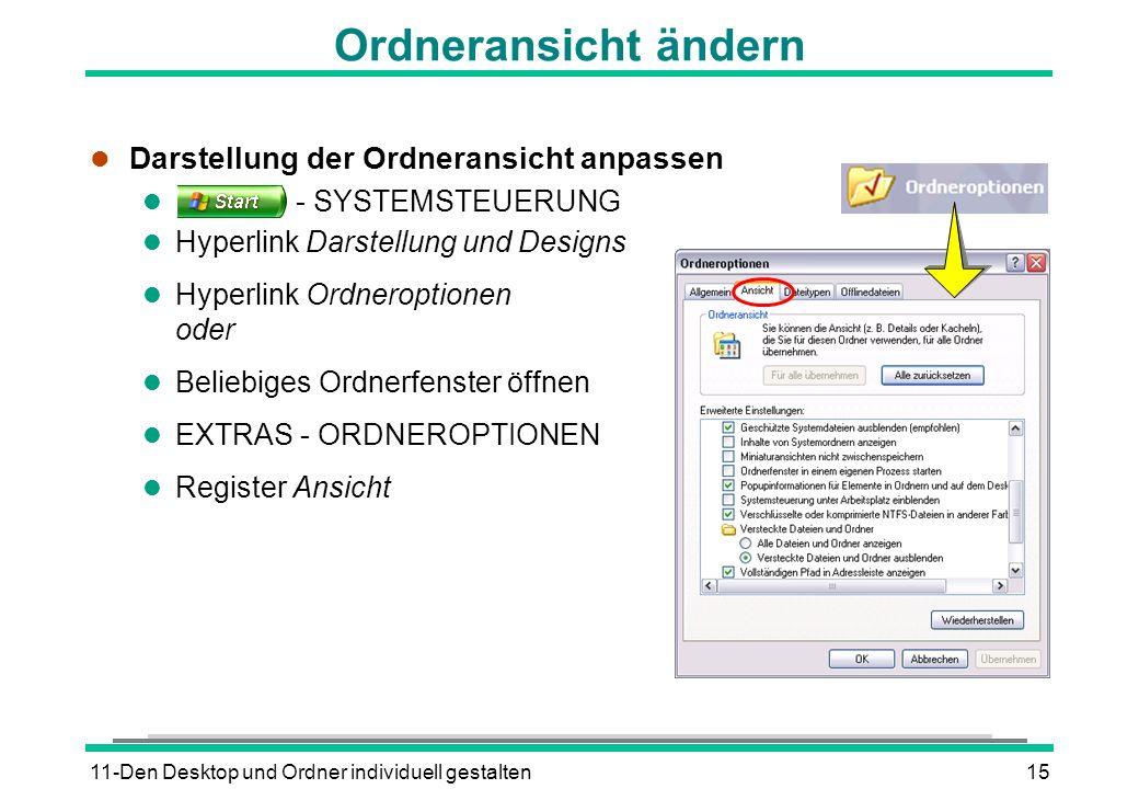 11-Den Desktop und Ordner individuell gestalten15 Ordneransicht ändern l Darstellung der Ordneransicht anpassen l - SYSTEMSTEUERUNG l Hyperlink Darste