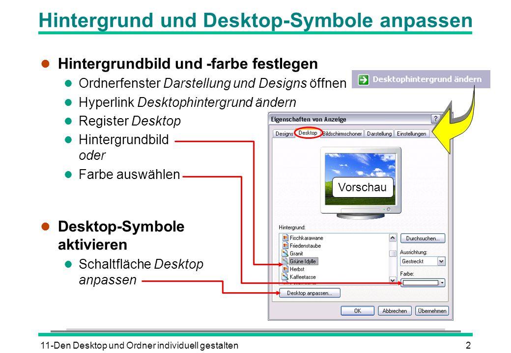 11-Den Desktop und Ordner individuell gestalten2 Hintergrund und Desktop-Symbole anpassen l Hintergrundbild und -farbe festlegen l Ordnerfenster Darst