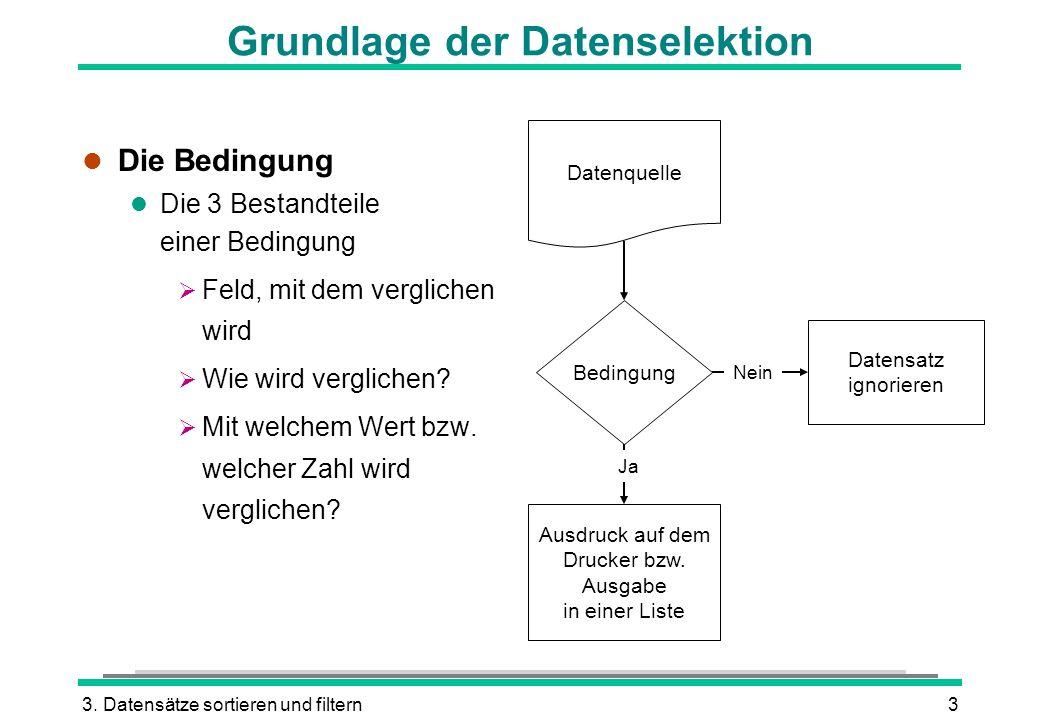 3. Datensätze sortieren und filtern3 Grundlage der Datenselektion l Die Bedingung l Die 3 Bestandteile einer Bedingung Feld, mit dem verglichen wird W
