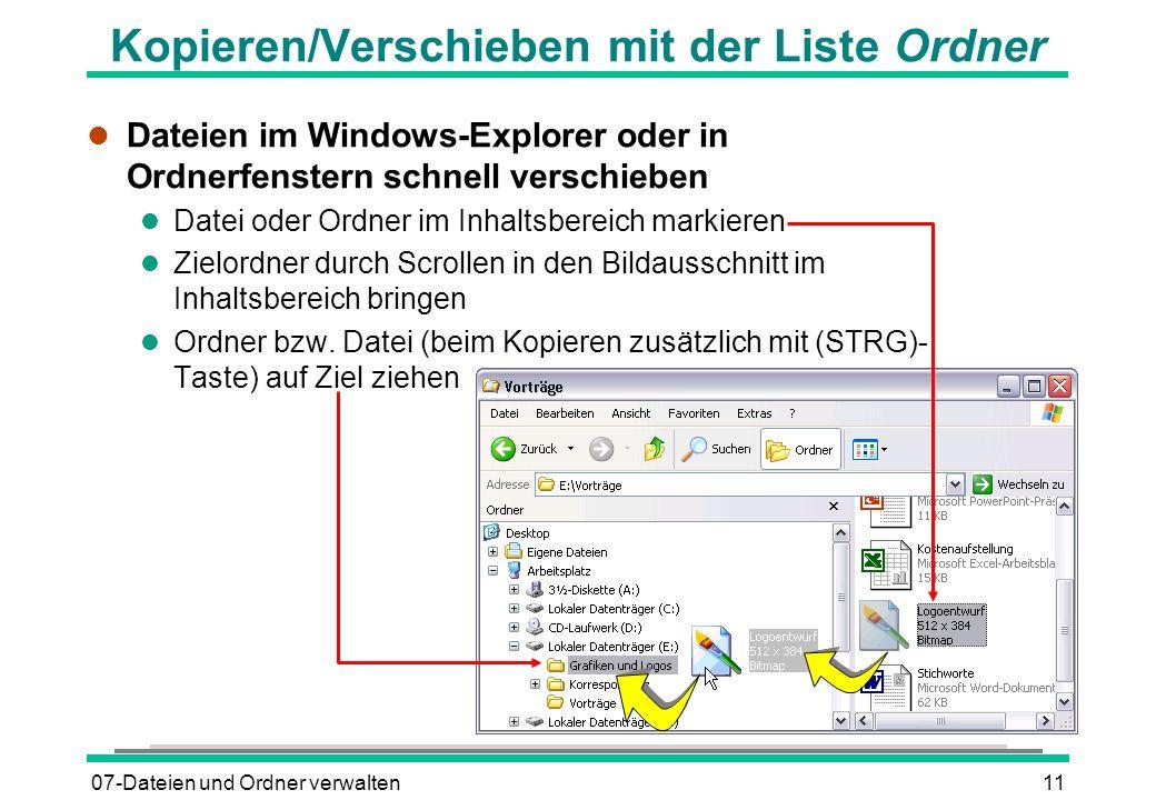 07-Dateien und Ordner verwalten11 Kopieren/Verschieben mit der Liste Ordner l Dateien im Windows-Explorer oder in Ordnerfenstern schnell verschieben l