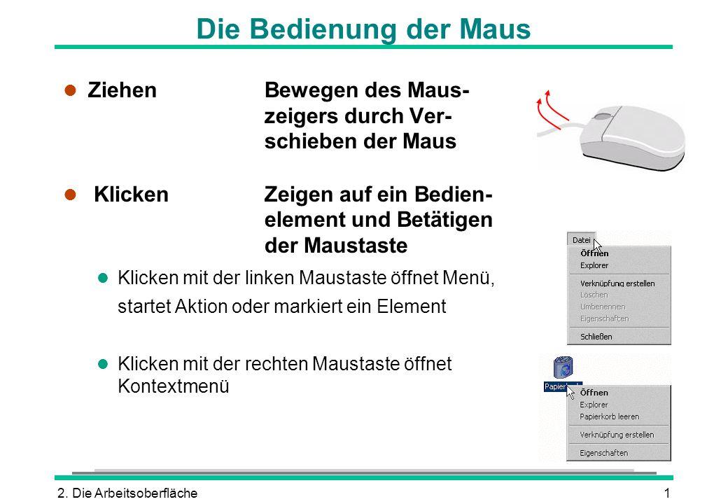 2. Die Arbeitsoberfläche1 Die Bedienung der Maus l ZiehenBewegen des Maus- zeigers durch Ver- schieben der Maus l KlickenZeigen auf ein Bedien- elemen