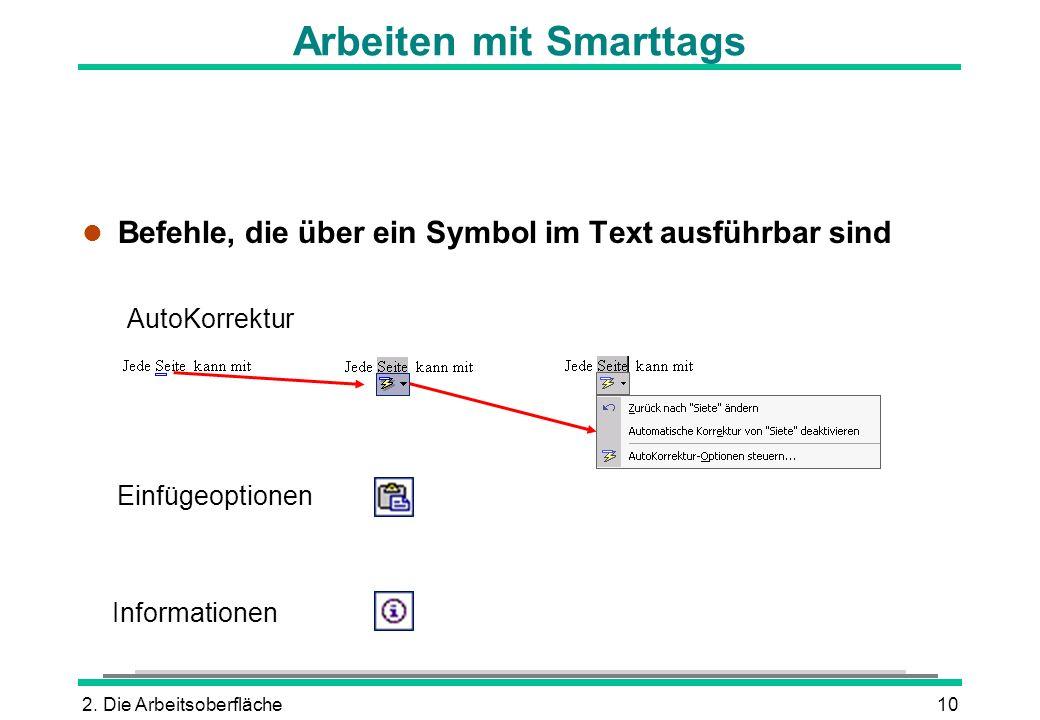 2. Die Arbeitsoberfläche10 Arbeiten mit Smarttags l Befehle, die über ein Symbol im Text ausführbar sind AutoKorrektur Einfügeoptionen Informationen