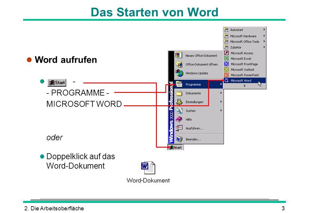 2. Die Arbeitsoberfläche3 Das Starten von Word l Word aufrufen l - - PROGRAMME - MICROSOFT WORD oder l Doppelklick auf das Word-Dokument