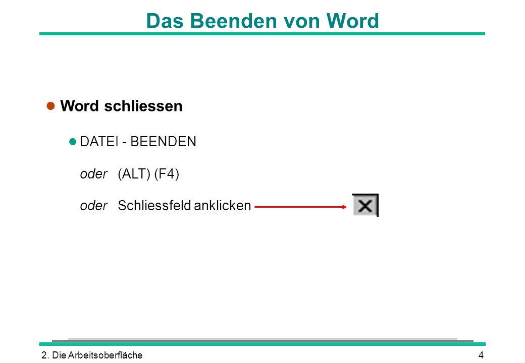 2. Die Arbeitsoberfläche4 Das Beenden von Word l Word schliessen l DATEI - BEENDEN oder (ALT) (F4) oder Schliessfeld anklicken
