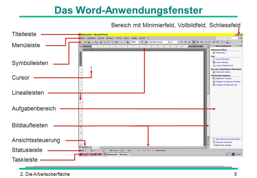 2. Die Arbeitsoberfläche5 Das Word-Anwendungsfenster Titelleiste Menüleiste Symbolleisten Linealleisten Statusleiste Bereich mit Minimierfeld, Vollbil