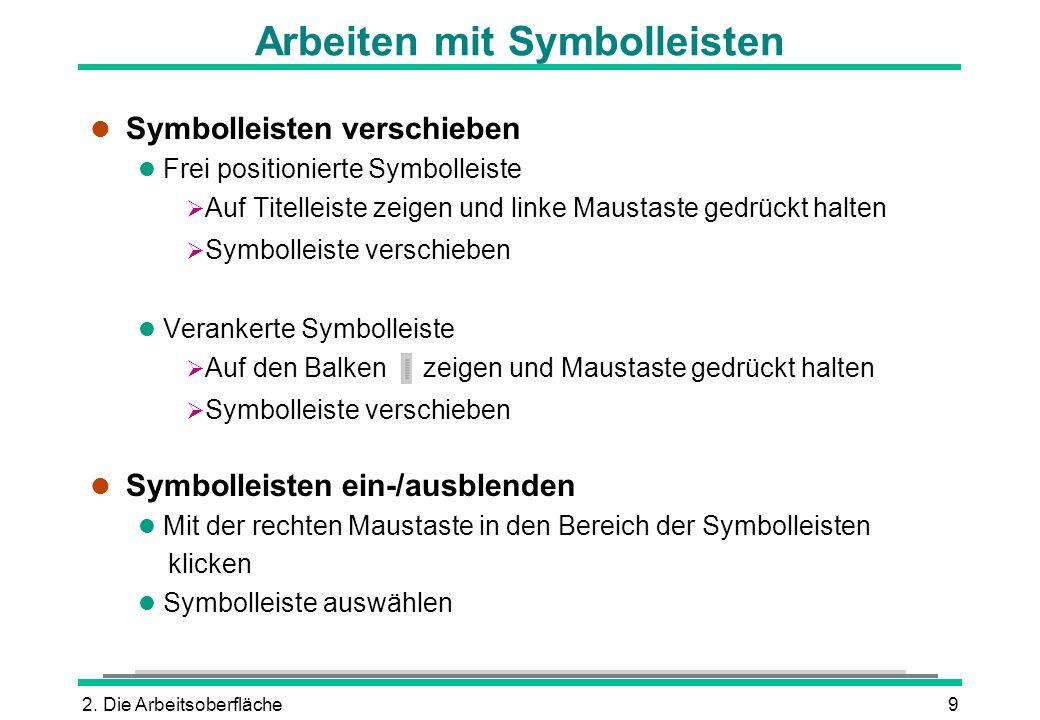 2. Die Arbeitsoberfläche9 Arbeiten mit Symbolleisten l Symbolleisten verschieben l Frei positionierte Symbolleiste Auf Titelleiste zeigen und linke Ma