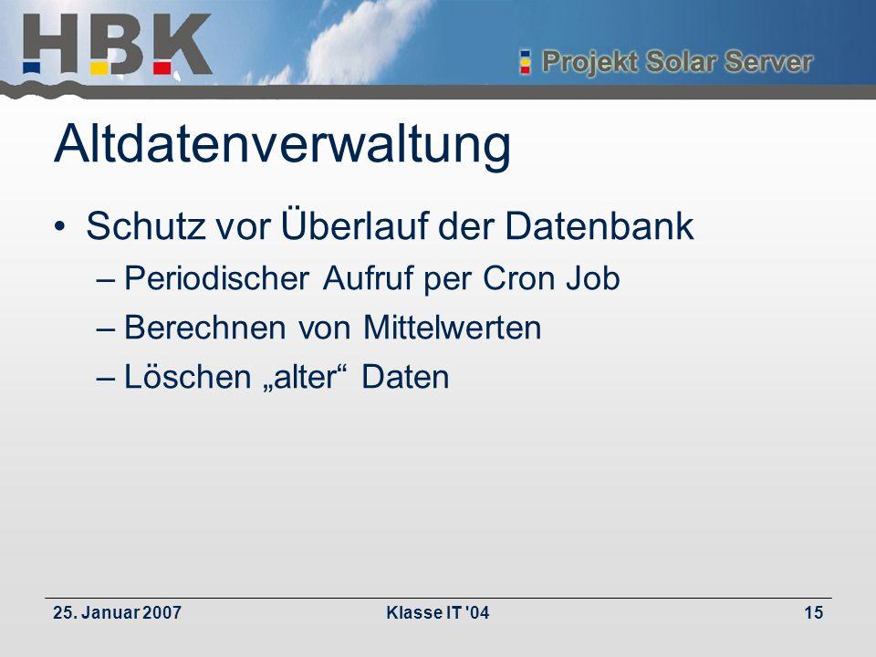 25. Januar 2007Klasse IT '0415 Altdatenverwaltung Schutz vor Überlauf der Datenbank –Periodischer Aufruf per Cron Job –Berechnen von Mittelwerten –Lös