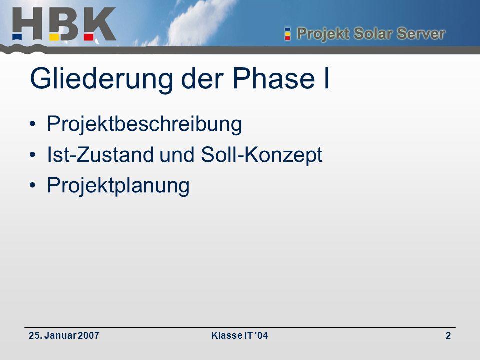 25. Januar 2007Klasse IT '042 Gliederung der Phase I Projektbeschreibung Ist-Zustand und Soll-Konzept Projektplanung