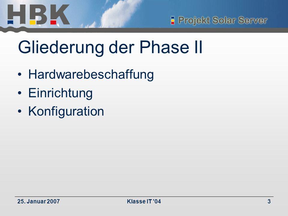 25. Januar 2007Klasse IT 043 Gliederung der Phase II Hardwarebeschaffung Einrichtung Konfiguration