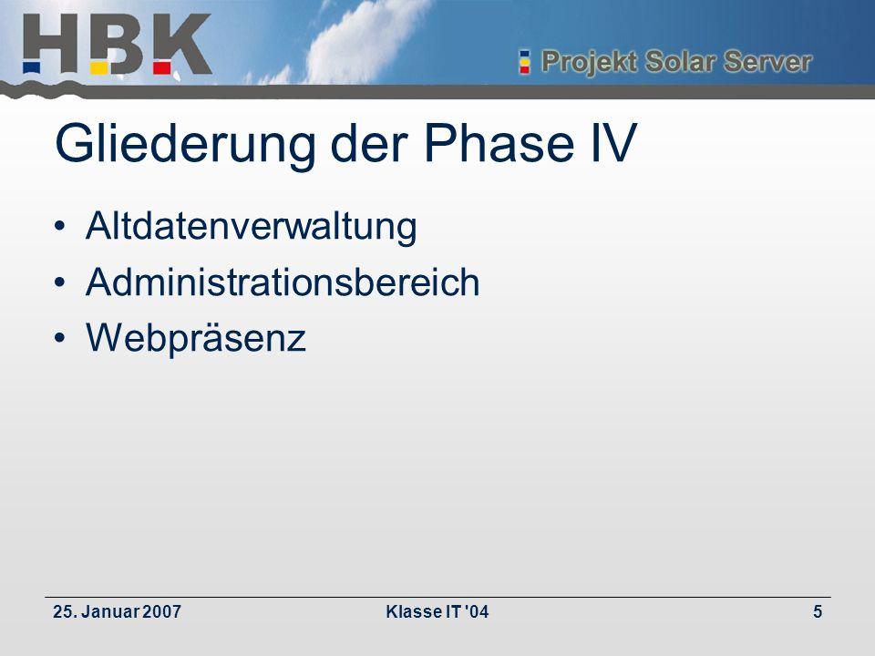 25. Januar 2007Klasse IT '045 Gliederung der Phase IV Altdatenverwaltung Administrationsbereich Webpräsenz