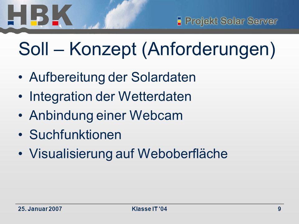 25. Januar 2007Klasse IT '049 Soll – Konzept (Anforderungen) Aufbereitung der Solardaten Integration der Wetterdaten Anbindung einer Webcam Suchfunkti