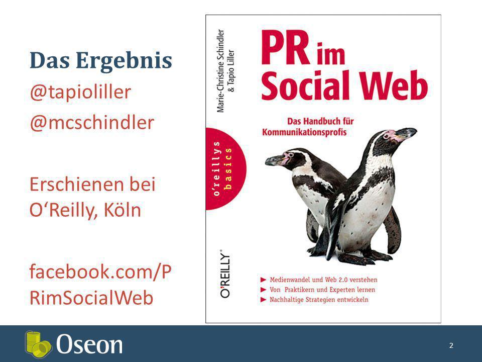 Das Ergebnis @tapioliller @mcschindler Erschienen bei OReilly, Köln facebook.com/P RimSocialWeb 2