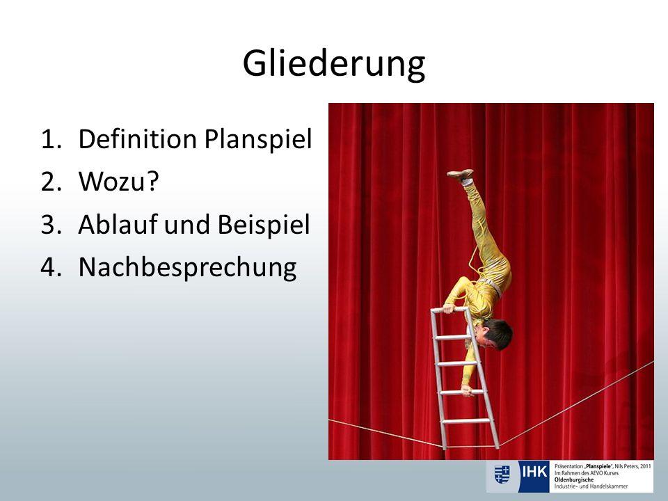 Gliederung 1.Definition Planspiel 2.Wozu? 3.Ablauf und Beispiel 4.Nachbesprechung