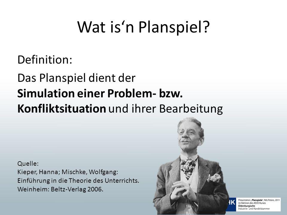 Wat isn Planspiel? Definition: Das Planspiel dient der Simulation einer Problem- bzw. Konfliktsituation und ihrer Bearbeitung Quelle: Kieper, Hanna; M