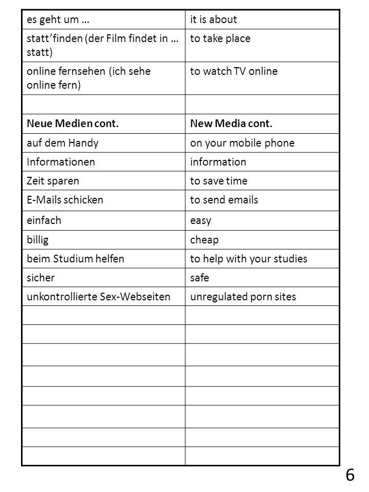 es geht um …it is about stattfinden (der Film findet in … statt) to take place online fernsehen (ich sehe online fern) to watch TV online Neue Medien cont.New Media cont.