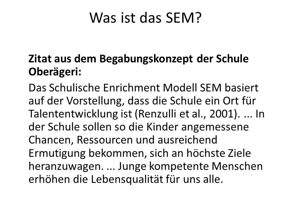 Was ist das SEM? Zitat aus dem Begabungskonzept der Schule Oberägeri: Das Schulische Enrichment Modell SEM basiert auf der Vorstellung, dass die Schul
