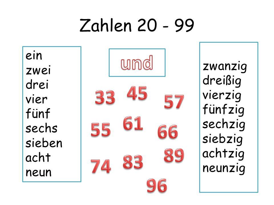 Zahlen 20 - 99 ein zwei drei vier fünf sechs sieben acht neun zwanzig dreißig vierzig fünfzig sechzig siebzig achtzig neunzig