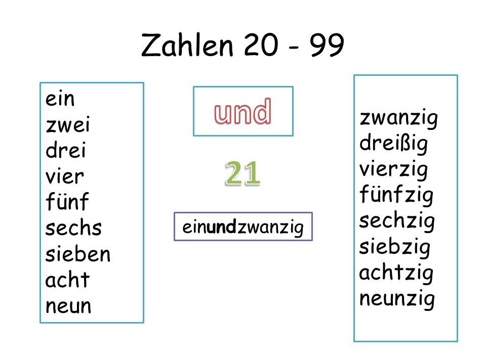 Zahlen 20 - 99 ein zwei drei vier fünf sechs sieben acht neun zwanzig dreißig vierzig fünfzig sechzig siebzig achtzig neunzig einundzwanzig