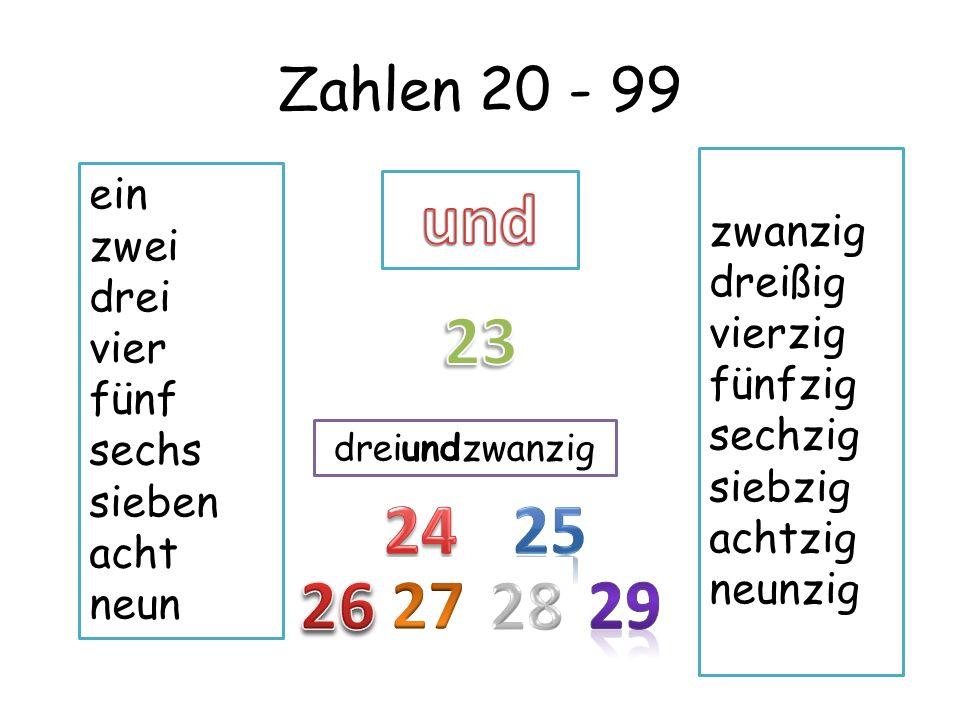 Zahlen 20 - 99 ein zwei drei vier fünf sechs sieben acht neun zwanzig dreißig vierzig fünfzig sechzig siebzig achtzig neunzig einunddreißig