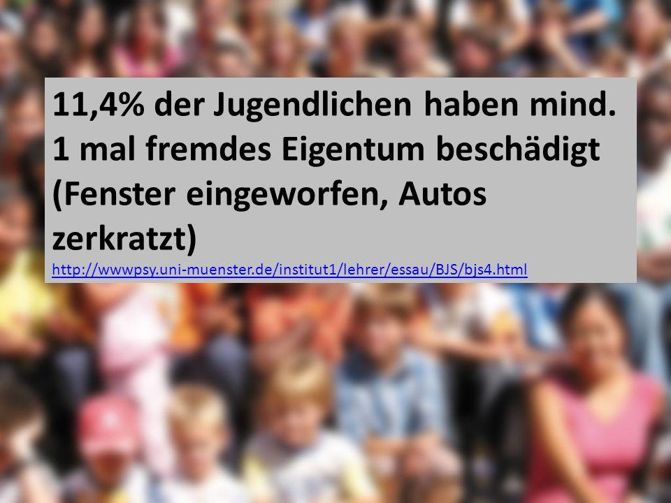 11,4% der Jugendlichen haben mind. 1 mal fremdes Eigentum beschädigt (Fenster eingeworfen, Autos zerkratzt) http://wwwpsy.uni-muenster.de/institut1/le