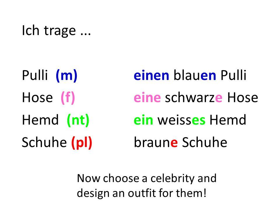 Ich trage... Pulli (m)einen blauen Pulli Hose (f)eine schwarze Hose Hemd (nt)ein weisses Hemd Schuhe (pl)braune Schuhe Now choose a celebrity and desi
