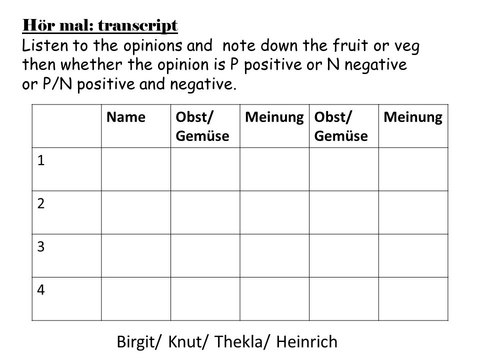 Hör mal: transcript Listen to the opinions and note down the fruit or veg then whether the opinion is P positive or N negative or P/N positive and neg