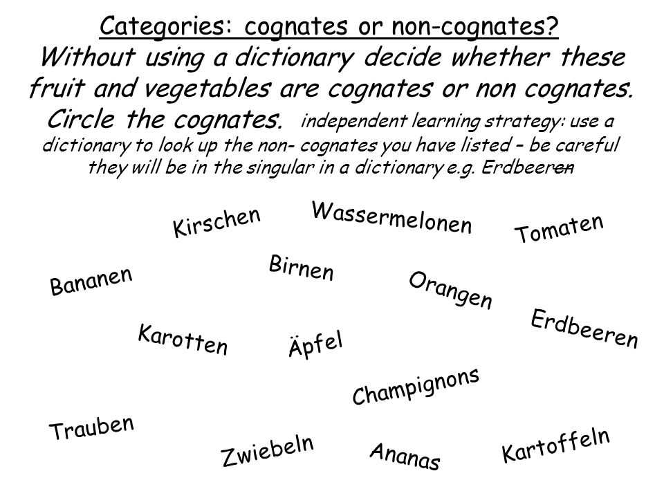 Wassermelonen Categories: cognates or non-cognates.