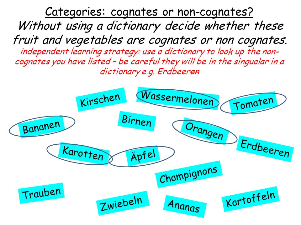 Wassermelonen Categories: cognates or non-cognates? Without using a dictionary decide whether these fruit and vegetables are cognates or non cognates.