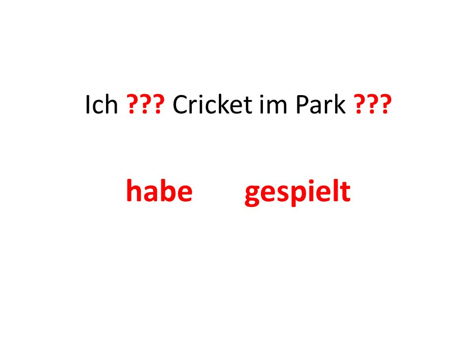 Ich ??? Cricket im Park ??? habe gespielt
