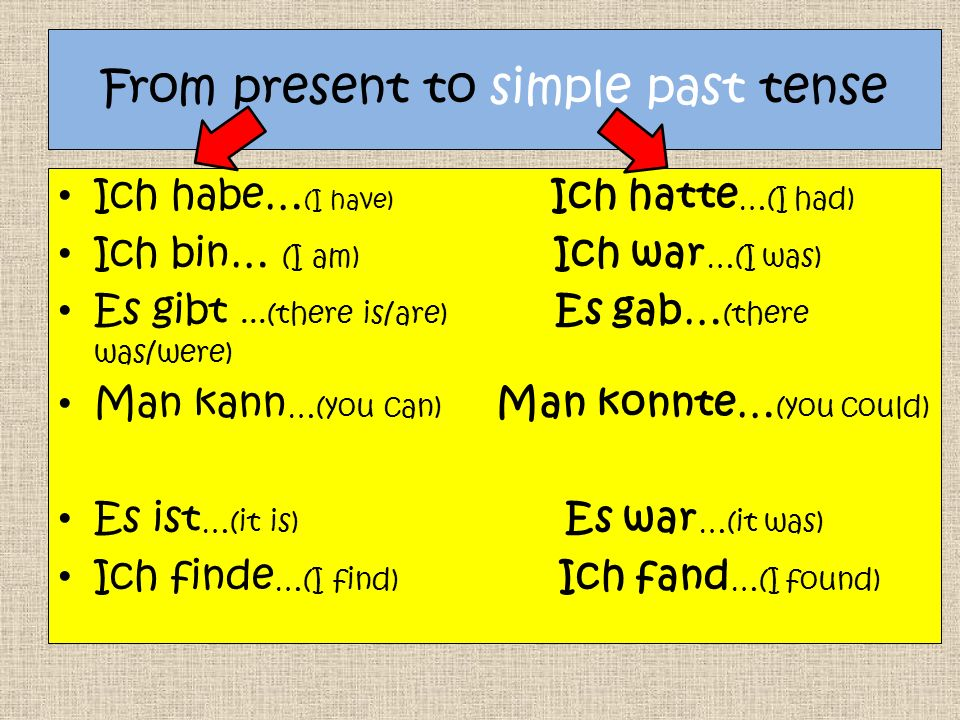 From present to simple past tense Ich habe… (I have) Ich hatte …(I had) Ich bin… (I am) Ich war …(I was) Es gibt...(there is/are) Es gab… (there was/were) Man kann …(you can) Man konnte… (you could) Es ist …(it is) Es war …(it was) Ich finde …(I find) Ich fand …(I found)
