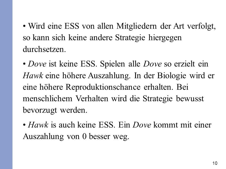 10 Wird eine ESS von allen Mitgliedern der Art verfolgt, so kann sich keine andere Strategie hiergegen durchsetzen. Dove ist keine ESS. Spielen alle D